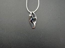 Кулоны и подвески - Подвеска золотая с сапфирами и бриллиантами, 0