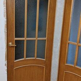 Межкомнатные двери - 2 двери межкомнатные, массив, остеклённые, шпон дуб, 80х200, 0