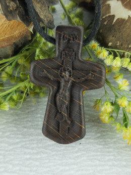 Кулоны и подвески - Крестик нательный из дерева резной, 0