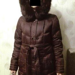 Пуховики - Пуховик женский, зимний, бордово-коричневый  44/162, 0