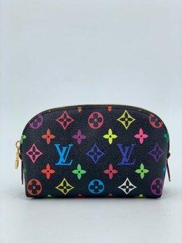 Косметички и бьюти-кейсы - Косметичка Louis Vuitton кожа + канва черная…, 0