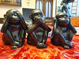 Статуэтки и фигурки - Три обезьянки Нидерланды керамика, 0
