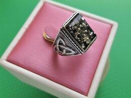 Кольца и перстни - Кольцо-печатка серебряная, янтарь натуральный, …, 0