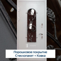 Входные двери - Дверь входная металлическая со стеклом и ковкой , 0