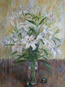 Картины, постеры, гобелены, панно - Медитация с лилиями. Холст, масло, 0