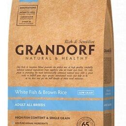 Корма  - GRANDORF Сухой корм для взрослых собак всех пород рыба рис 12 кг, 0