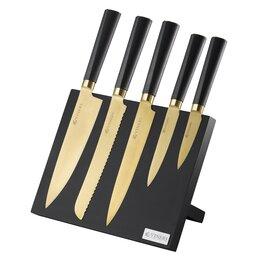 Ножи кухонные - Набор из 5 ножей и подставки Titan Gold, 0
