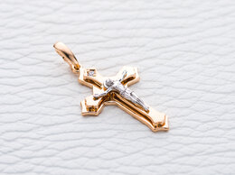 Кулоны и подвески - Крест с фианитом из комбинированного золота, 0