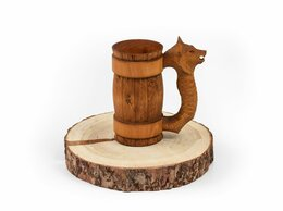 Кружки, блюдца и пары - Кружка из дерева с резной ручкой «Волк» 0,5 л, 0