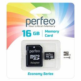 Карты памяти - 16GB PERFEO MicroSDHC class 10 без адаптера ES…, 0