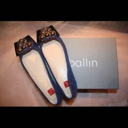 Балетки - Балетки новые Ballin Италия 39 замша синие брошь внутри кожа подошва, 0