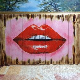 Картины, постеры, гобелены, панно - Картина на дереве Губы, ручная работа, 0