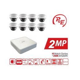 Готовые комплекты - Видеонаблюдение на 8 камер 2MP HiWatch (IP-POE), 0