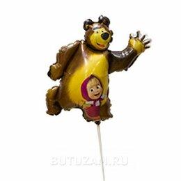 """Украшения и бутафория - Воздушный шарик на палочке 14""""/36см Маша и Медведь, 0"""