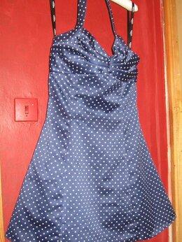 Платья - Платье нарядное синее в горошек, на подкладе,…, 0
