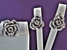Комплекты - Серебряный комплект Розы с фианитами родирование, 0