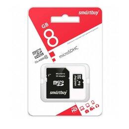Карты памяти - 8GB SmartBuy MicroSDHC class 10, 0