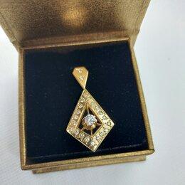 Кулоны и подвески - Золотая подвеска с бриллиантами 0,83 ct СССР, 0