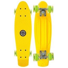 Скейтборды и лонгборды - Пенниборд 56x15 см, колёса световые PU 60х45 мм, алюминиевая рама, цвет желтый, 0