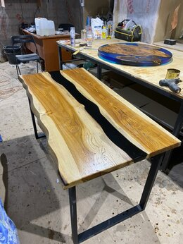 Столы и столики - Стол-река из слэба с эпоксидной смолой, 0