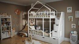 Кроватки - Двухъярусная кровать домик с ящиками и лесенкой…, 0
