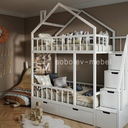 Кроватки - Двухъярусная кровать домик с ящиками и лесенкой комодом, 0