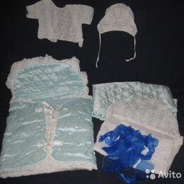 Комплекты - На выписку конверт одежки одеяло лента уголок , 0