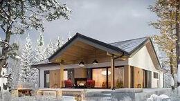 Готовые строения - Одноэтажный дом из кирпича со штукатурным фасадом, 0