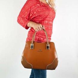 Сумки - Новая коричневая сумка из кожи интересной формы, 0