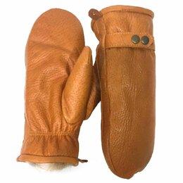 Перчатки и варежки - Рукавицы женские кожано-меховые, волк, коричневые, 0