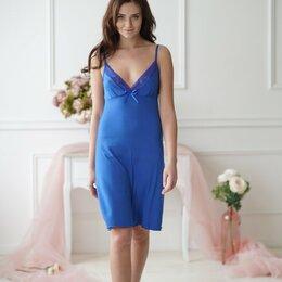 Домашняя одежда - Сорочка женская вискозная васильковая, на тонких бретелях, глубокое декольте, 0