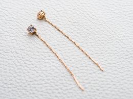 Серьги - Серьги-продёвки с 2 фианитами из красного золота, 0