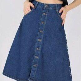 Юбки -  Юбка джинсовая миди на пуговицах на талию до 65, 0