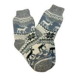 Носки - Носки шерстяные двойной вязки - Олени в голубом, 0