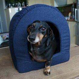 Лежаки, домики, спальные места - Крепкий джинсовый домик нора с укрепленным дном, ручная работа, 0