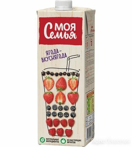 Нектар Моя Семья яблоко клубника земляника 0,95 л по цене 54₽ - Ингредиенты для приготовления напитков, фото 0