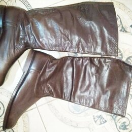 Сапоги - Сапоги хромовые коричневые бу, 0