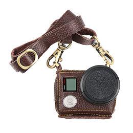 Аксессуары для экшн-камер - Чехол кожаный Telesin для GoPro HERO3+, HERO4 с ремнем на шею, 0