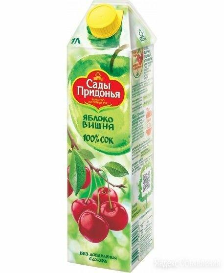 Сок Сады придонья яблоко вишня 1 л по цене 89₽ - Продукты, фото 0