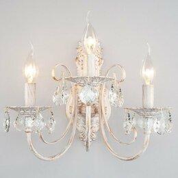 Бра и настенные светильники - Бра с хрусталем 3305/3 белый с золотом / прозрачный хрусталь alda, 0