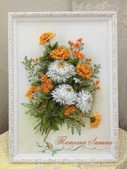 Картины, постеры, гобелены, панно - Картина Хризантемы. Вышивка лентами. Авторская…, 0