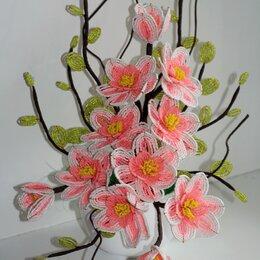 Искусственные растения - Цветы из бисера. Магнолия из бисера., 0