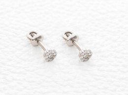 Серьги - Серьги-пусеты с 18 бриллиантами из белого золота, 0