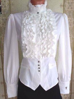 Блузки и кофточки - Белая блузка с плиссированной вставкой, р.44, 0