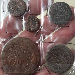Монеты - медные монеты Елизаветы Петровны, полный комплект всех медных монет, 0