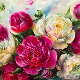 """Картины, постеры, гобелены, панно - Картина  маслом """"Белые и бордовые пионы в саду"""", 0"""