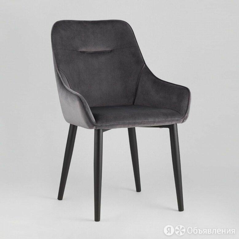 """Стул с подлокотниками мягкий серый с черными металлическими ножками """"Диана""""  по цене 11990₽ - Мебель для кухни, фото 0"""