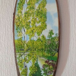 Картины, постеры, гобелены, панно - Панно на срубе дерева, 0