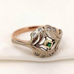 Кольца и перстни - Золотое кольцо изумруд, бриллианты 583 советская проба СССР, 0