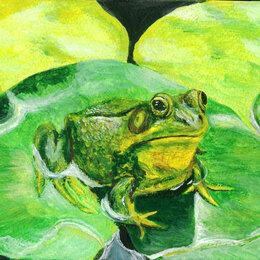 """Картины, постеры, гобелены, панно - Картина """"Лягушка"""" рисунок гуашь бумага 21х15 см Гаврилин Е.Г., 0"""